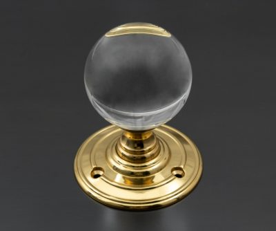 CC1006 Glass door knob with brass rose. The Beardmore Collection